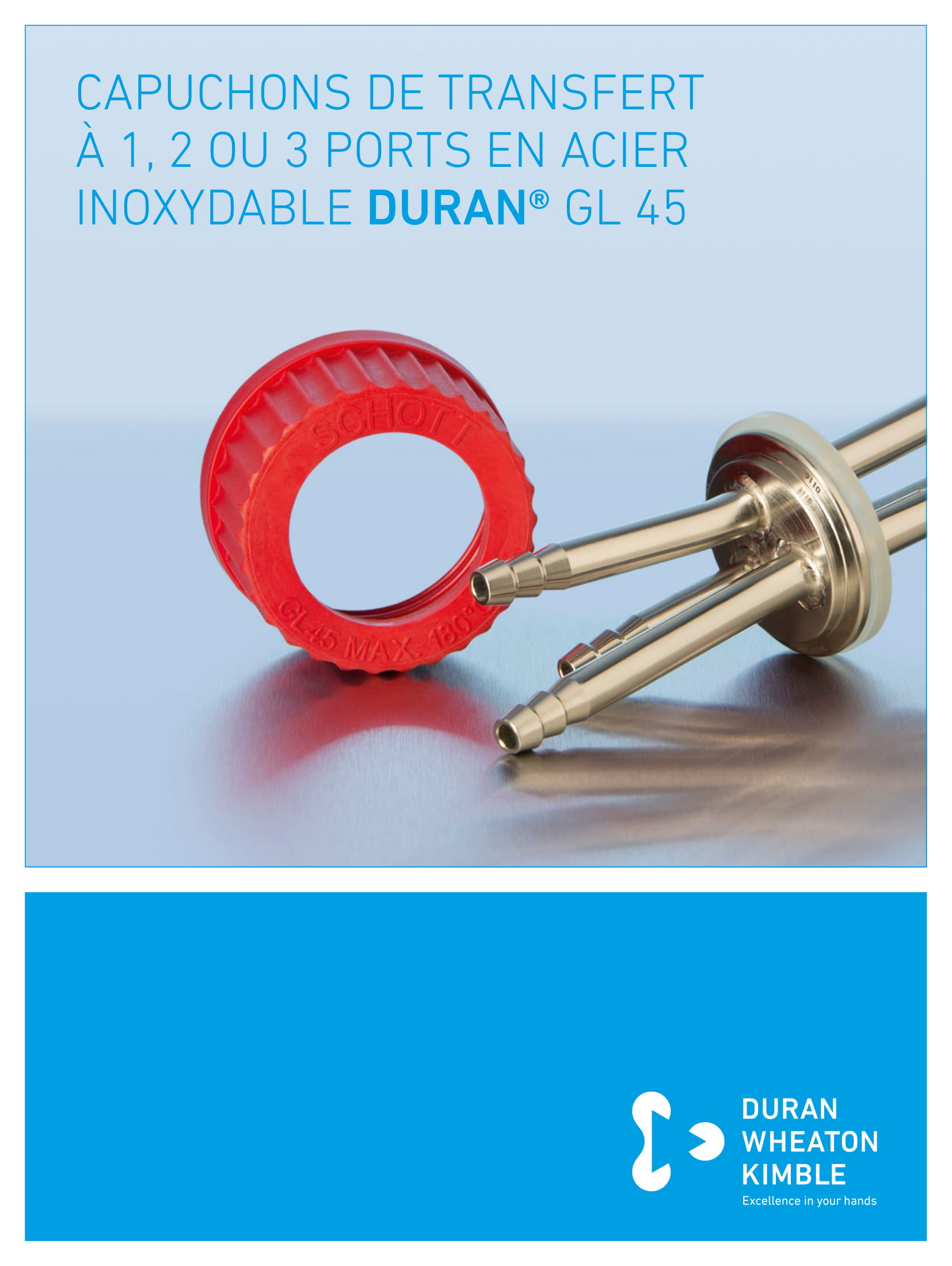 DURAN® Stainless Steel 1-, 2- or 3-Port Connector Cap GL 45