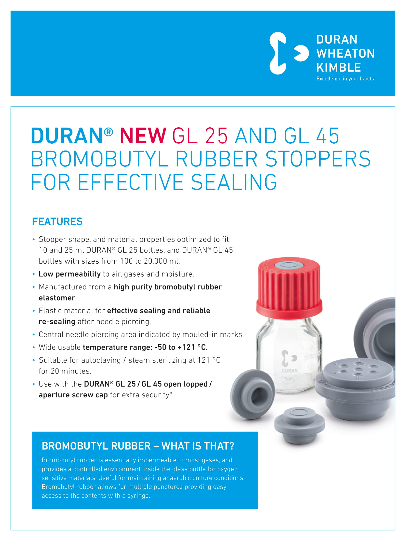 DURAN® GL 25 and GL 45 Bromobutyl Rubber Stoppers