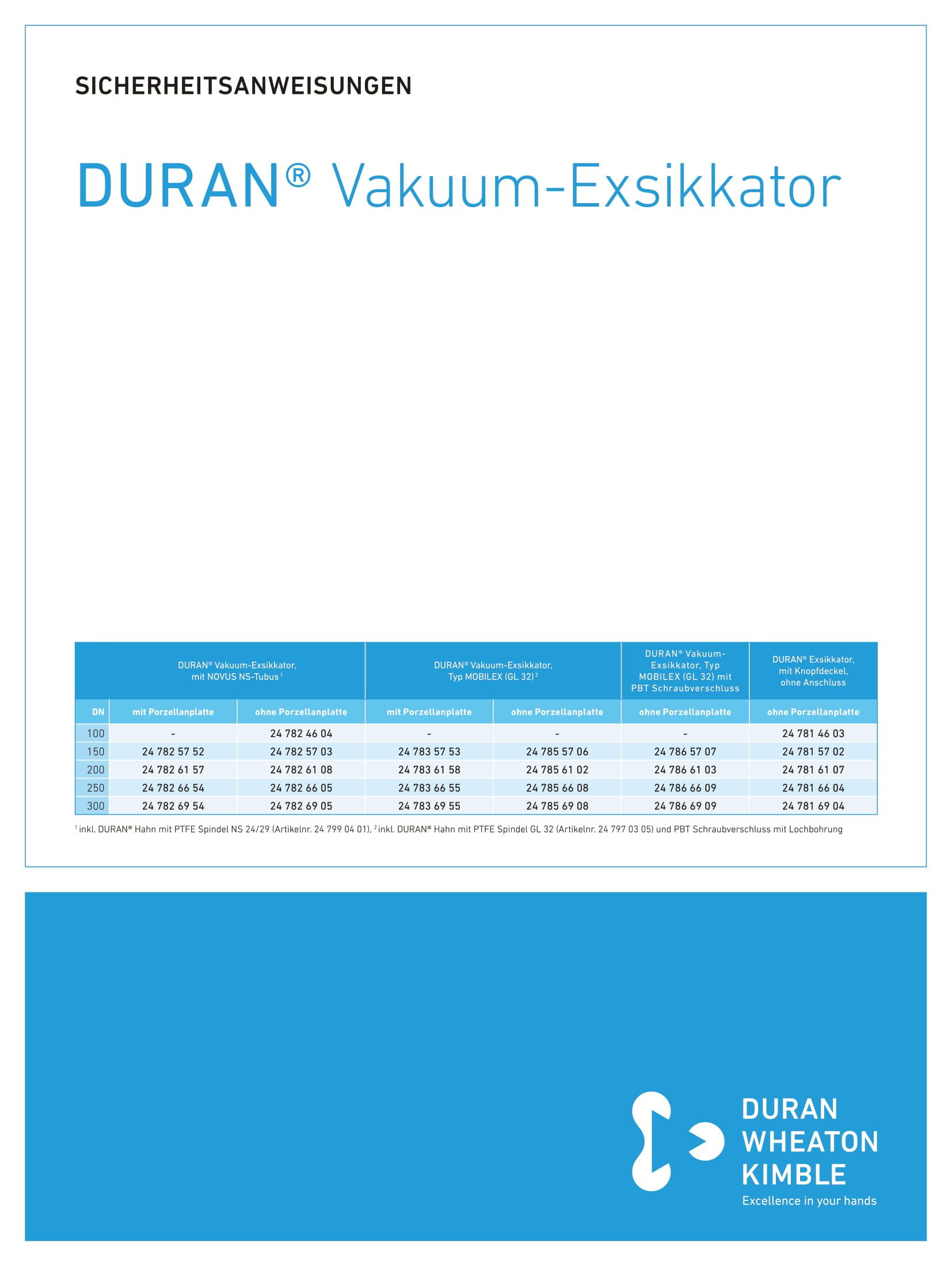 Safety Instructions DURAN® Vacuum Desiccator