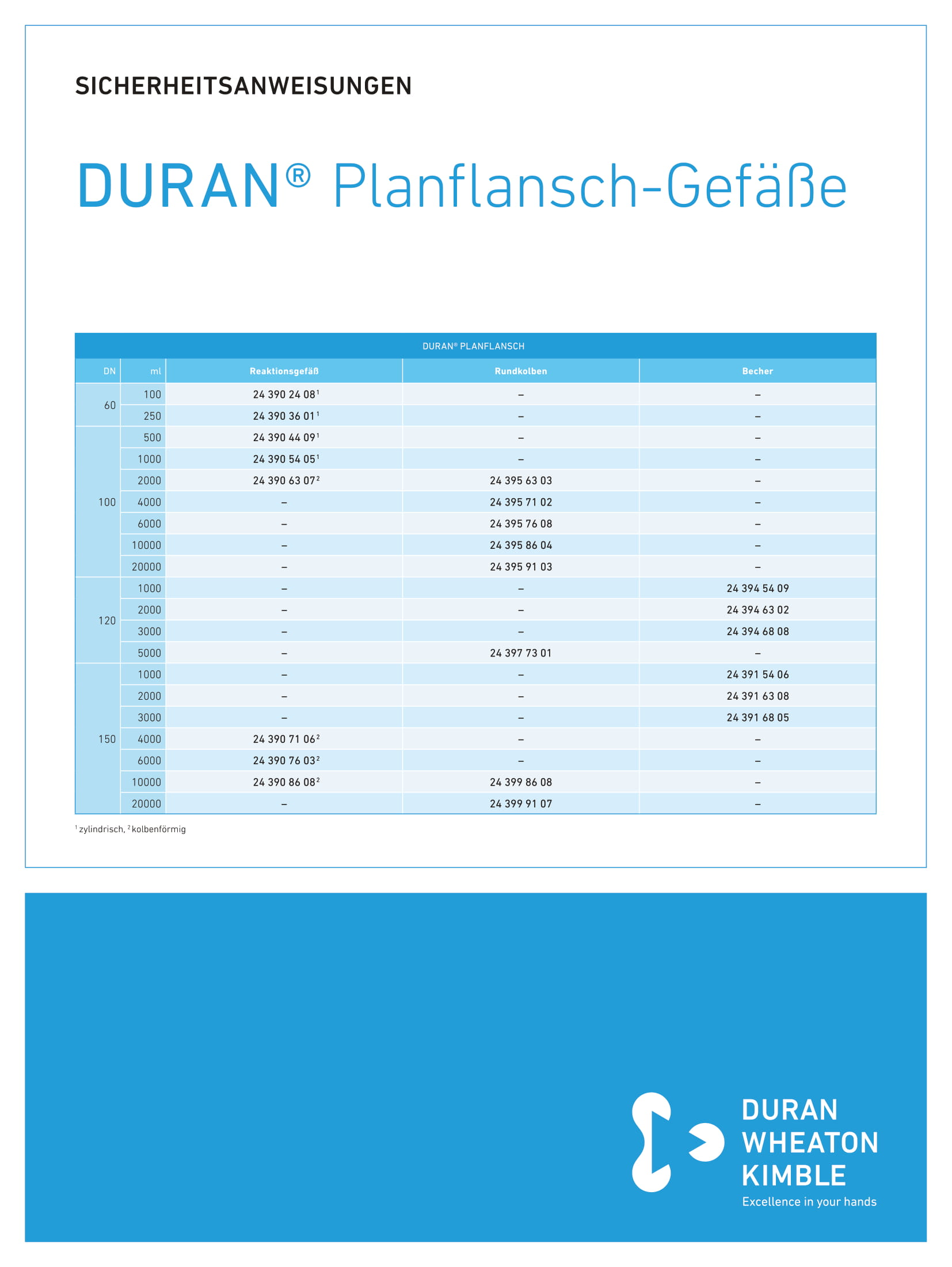 Safety Instructions DURAN® Flat Flange Vessel