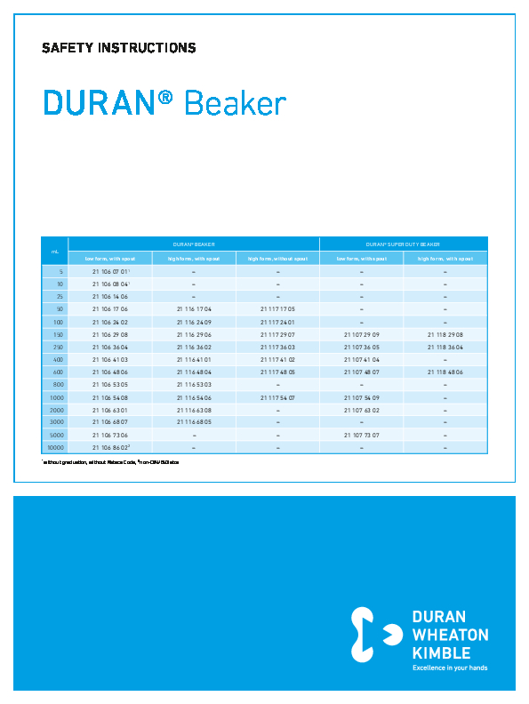 Safety Instructions DURAN® Beaker