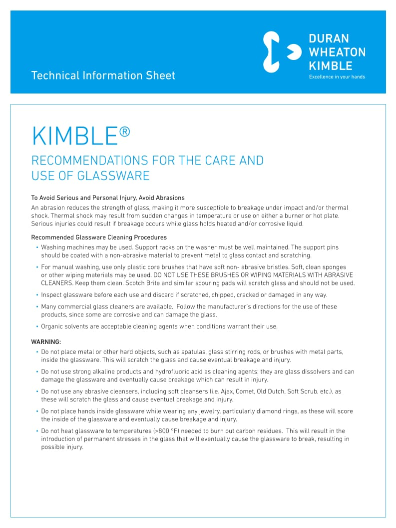 KIMBLE® Glassware Care and Use