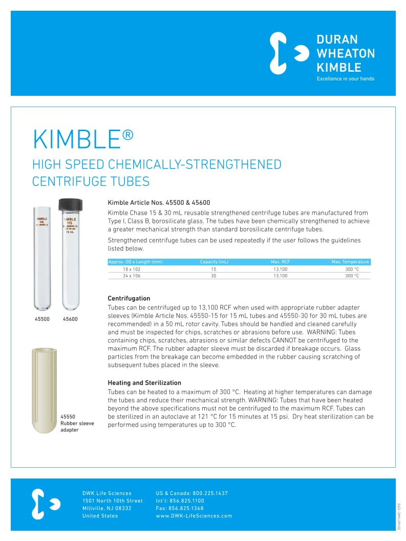 KIMBLE® High Speed Centrifuge Tubes