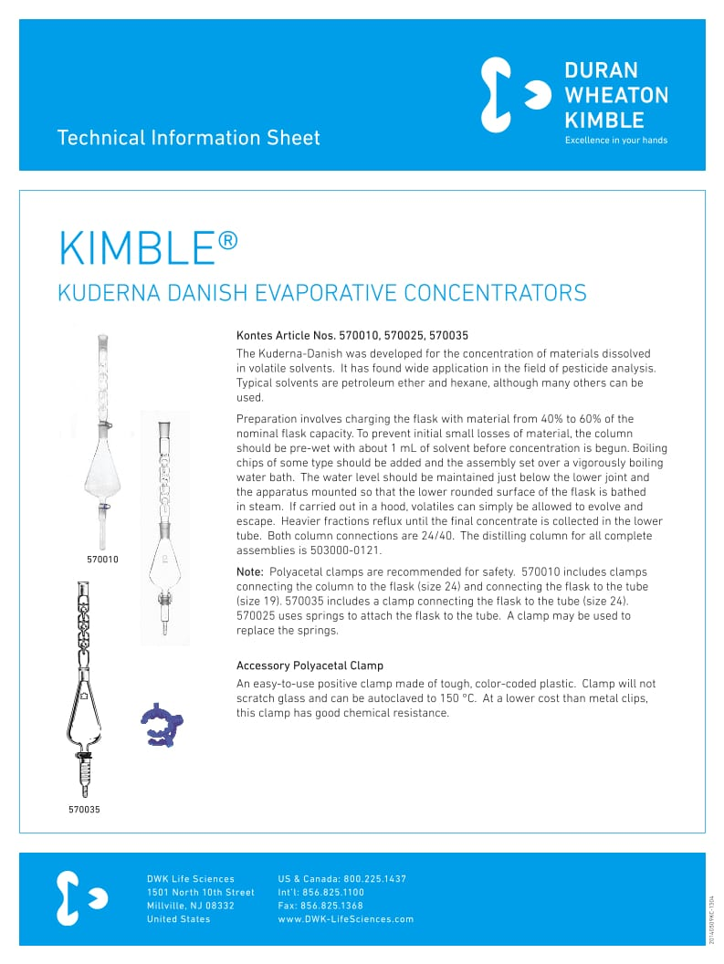 KIMBLE® Kuderna Danish Concentrators