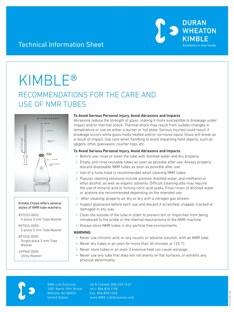KIMBLE® NMR Tubes Care & Usage