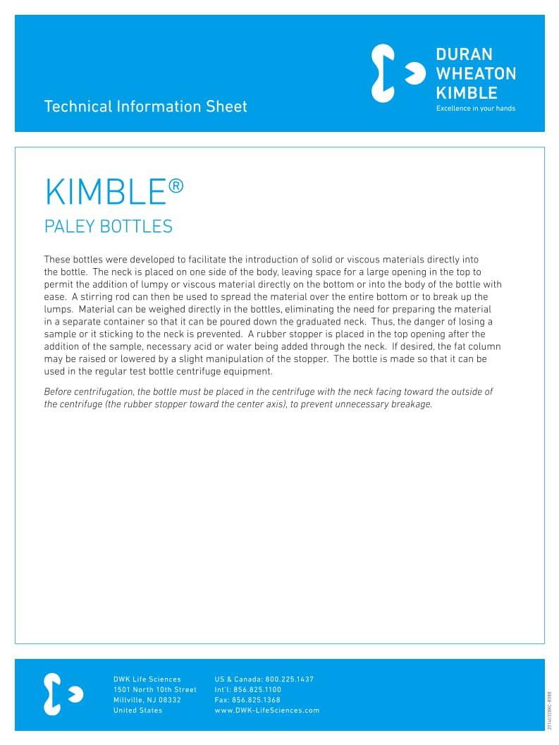 KIMBLE® Paley bottles