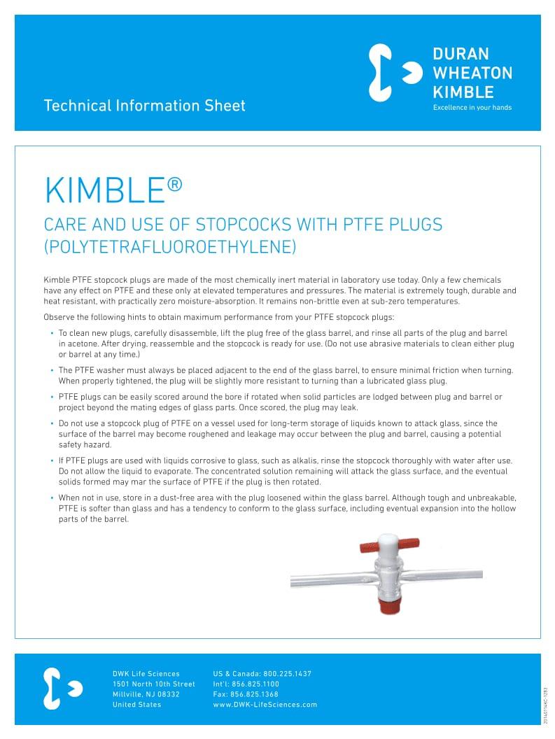 KIMBLE® Stopcocks with PTFE Plugs