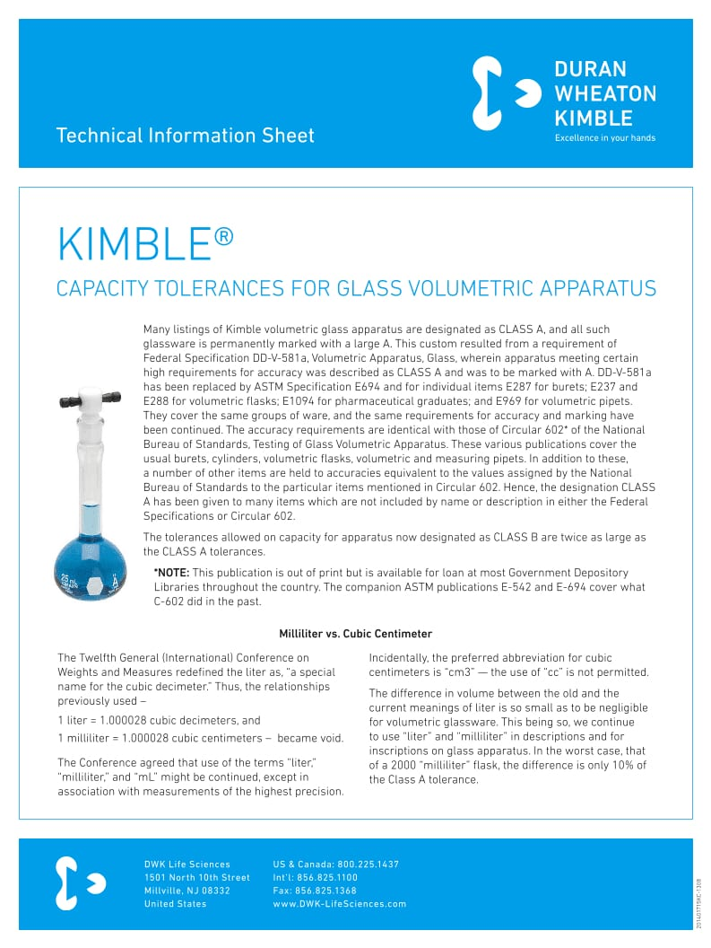 KIMBLE® Volumetric Tolerances