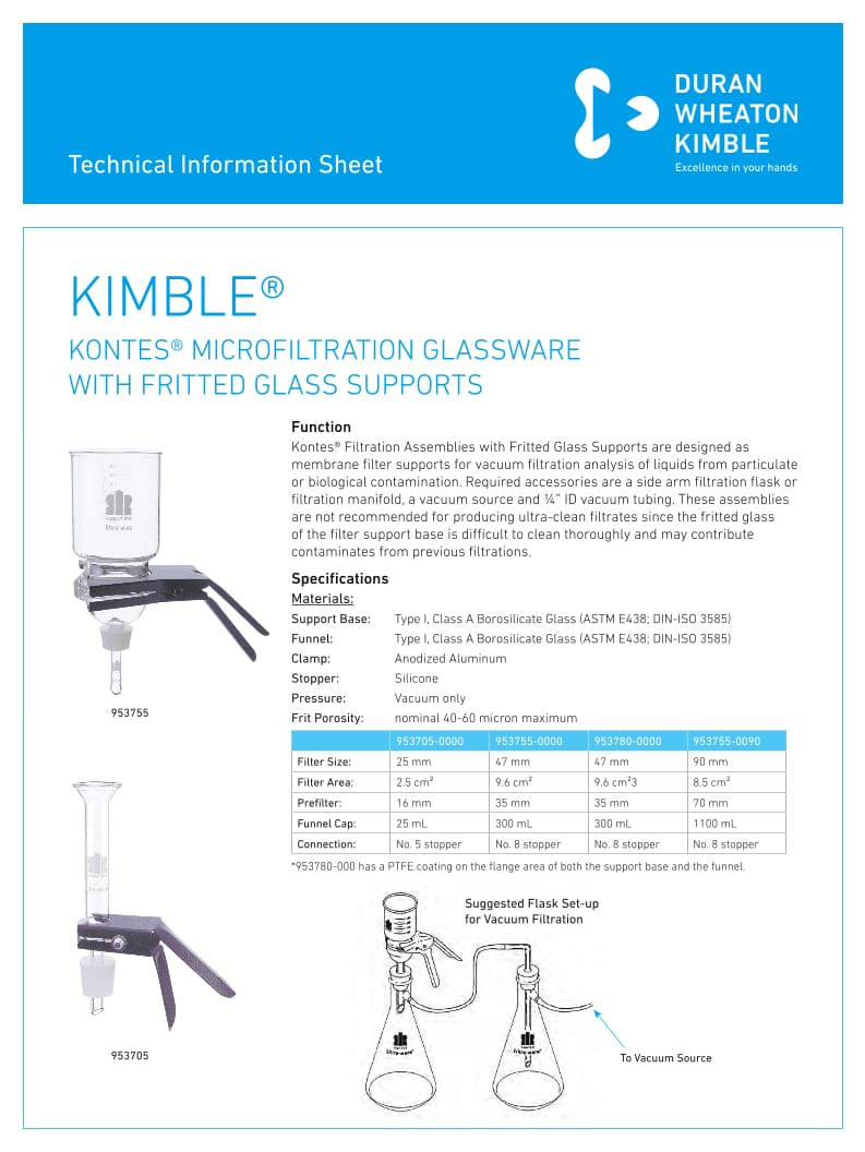 Kontes Microfiltration with Fritted Glass