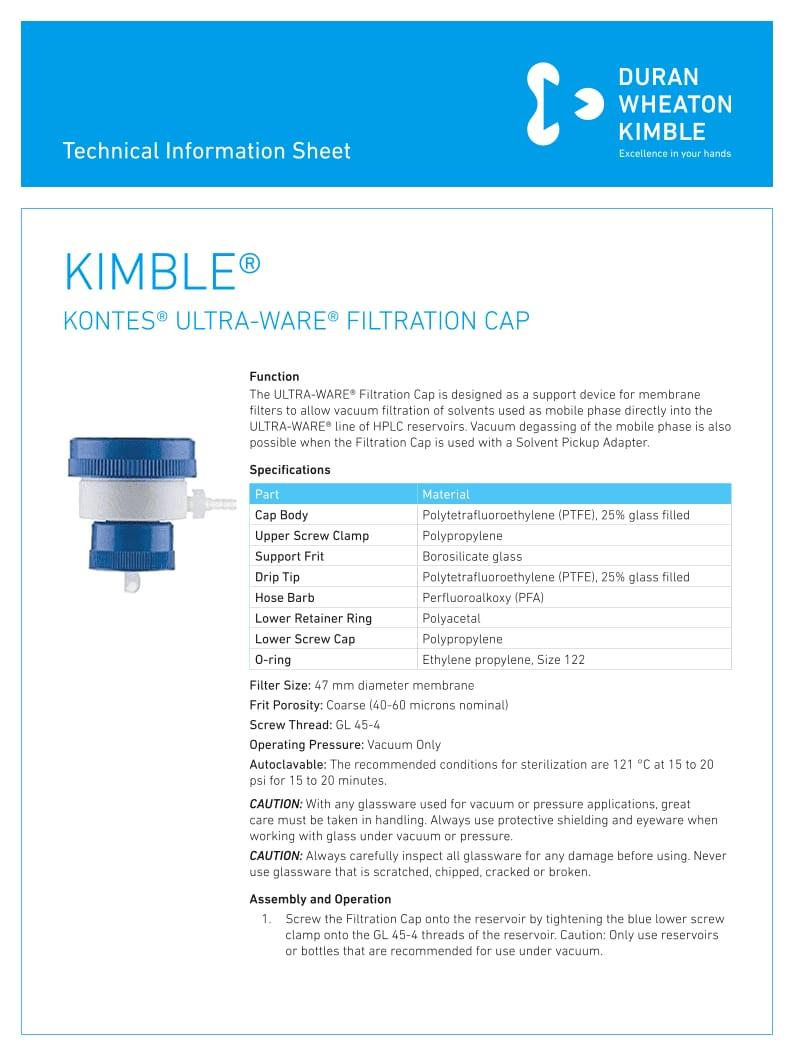 Kontes Ultra-Ware Filtration Cap