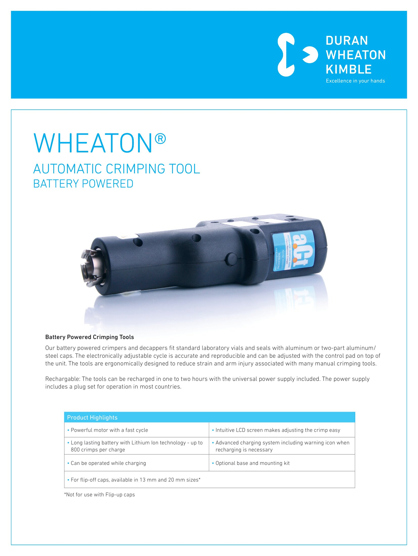 WHEATON® Automatic Crimping Tool Battery Powered