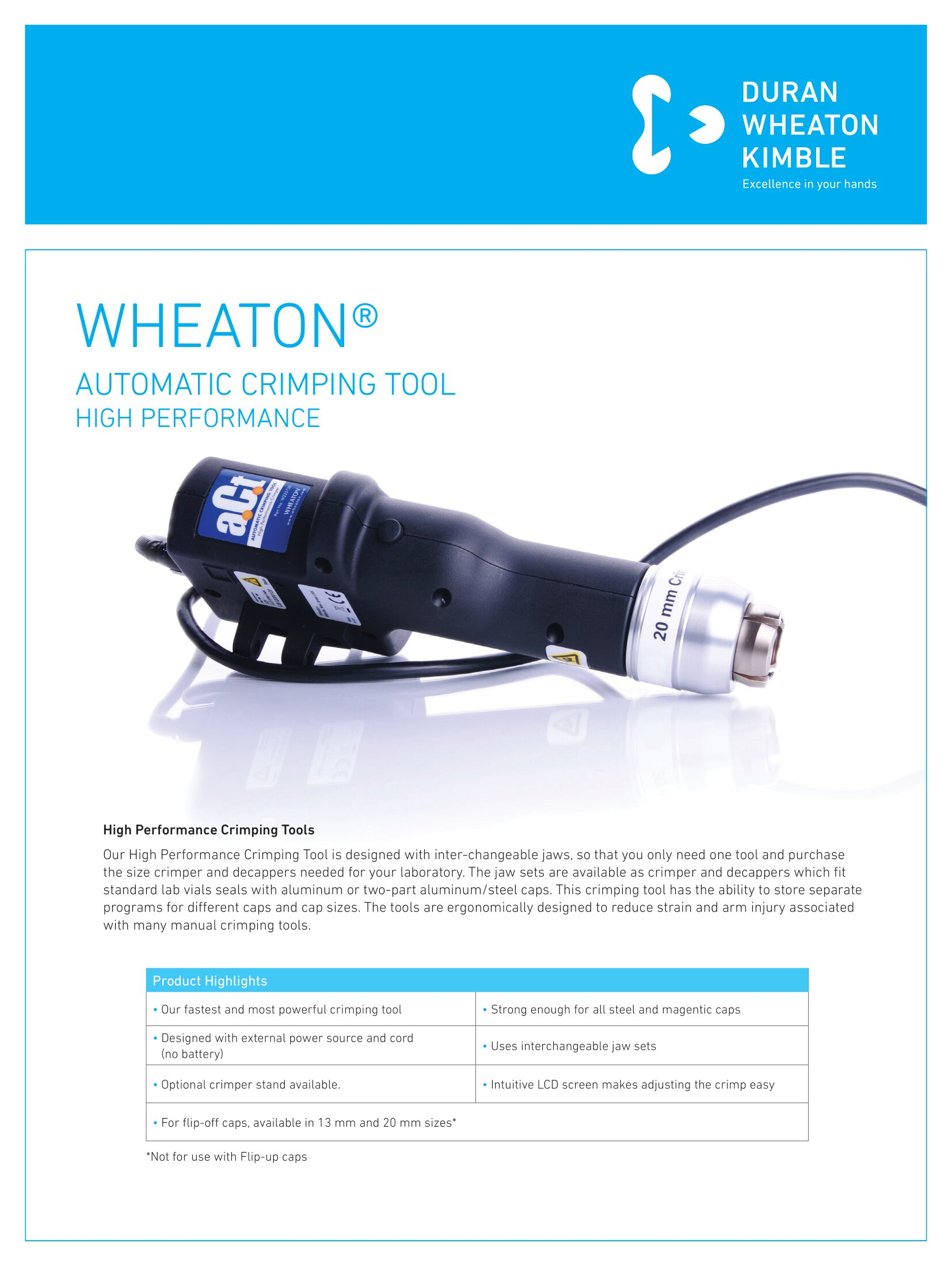 WHEATON® Automatic Crimping Tool High Performance