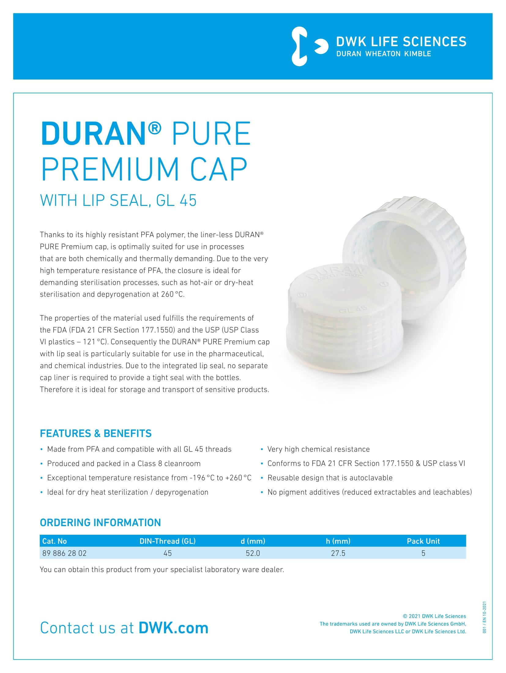 DURAN® PURE Premium Cap with Lip Seal, GL 45