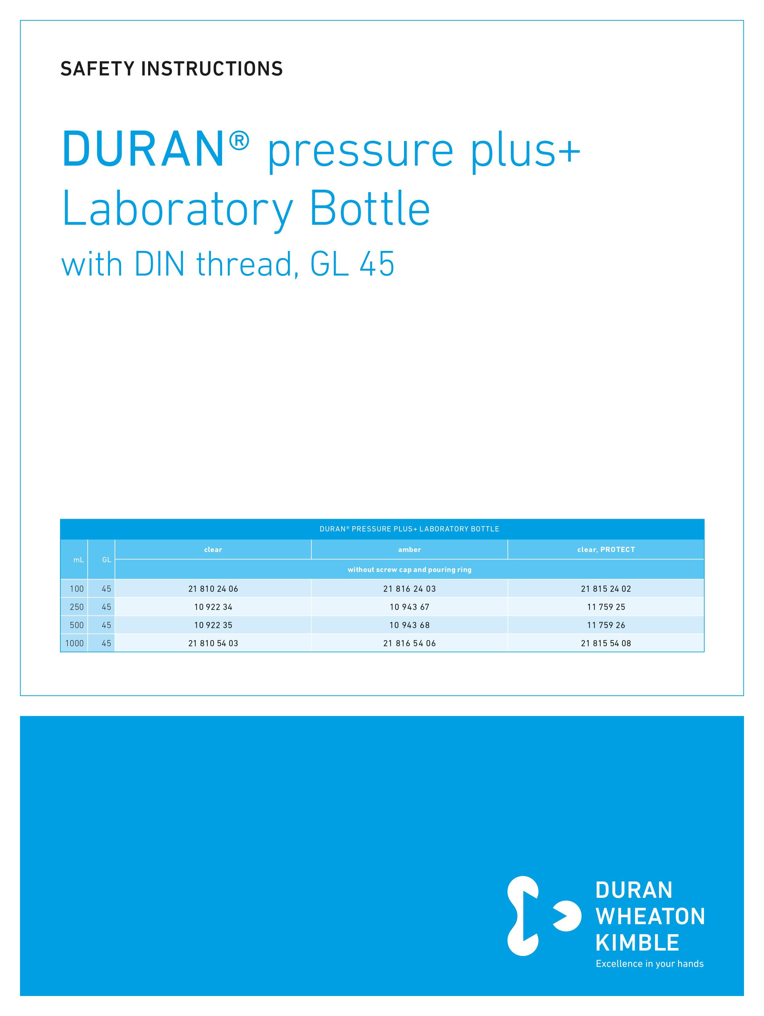 DWK SAFETY INSTRUCTIONS DURAN® pressure plus+ Bottle