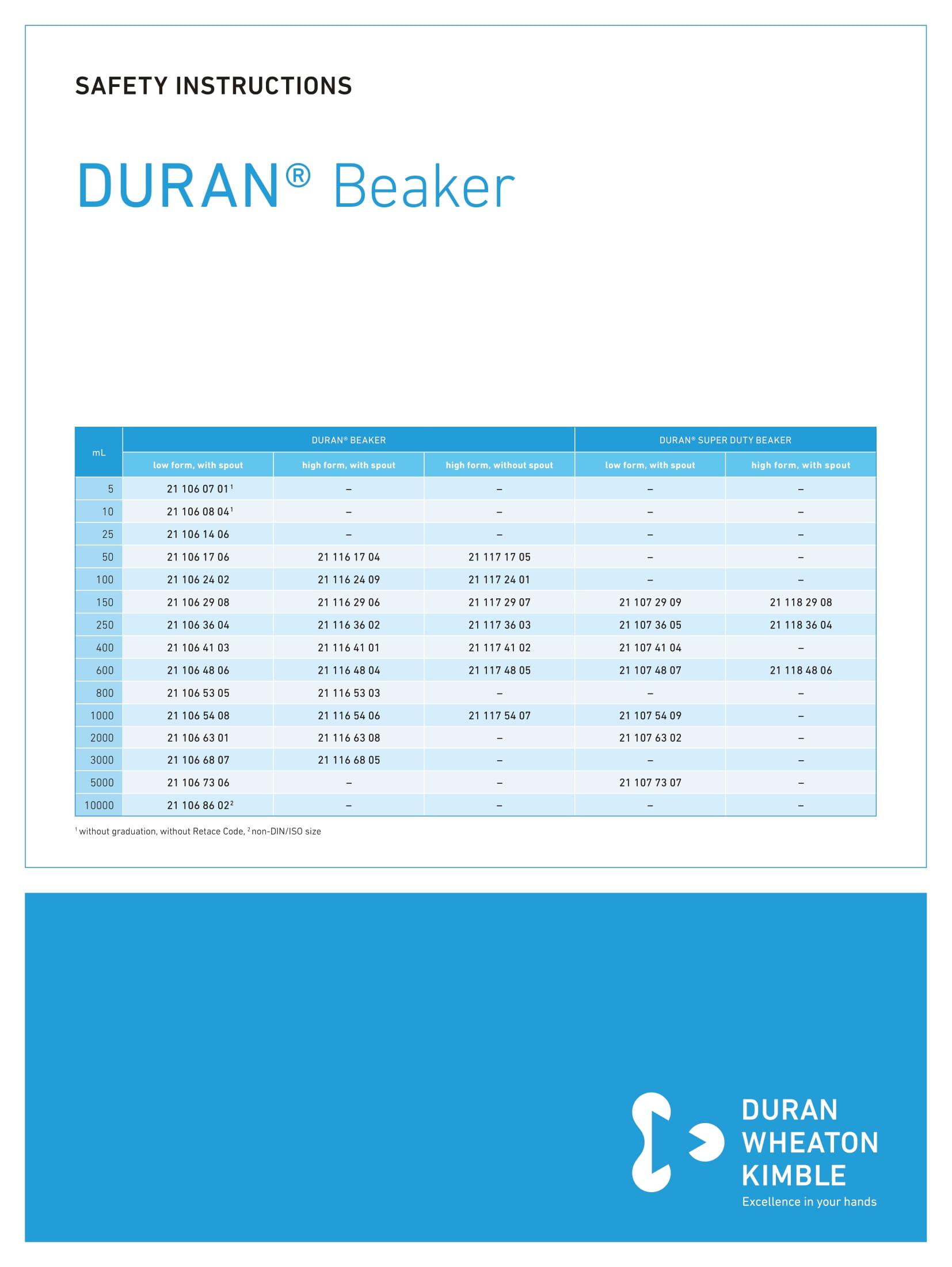 DWK SAFETY INSTRUCTIONS DURAN® Beaker