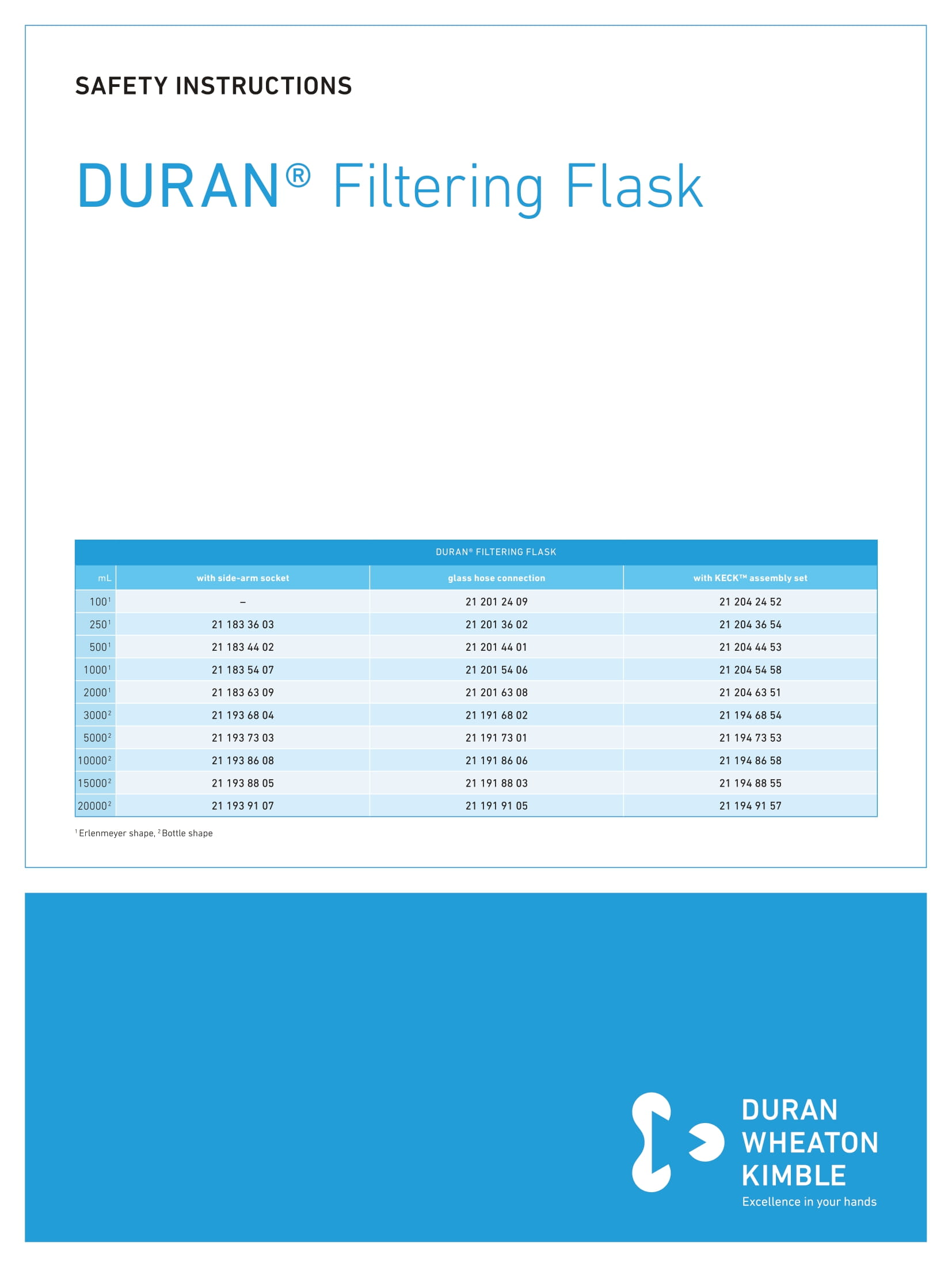 DWK SAFETY INSTRUCTIONS DURAN® Filtering Flask