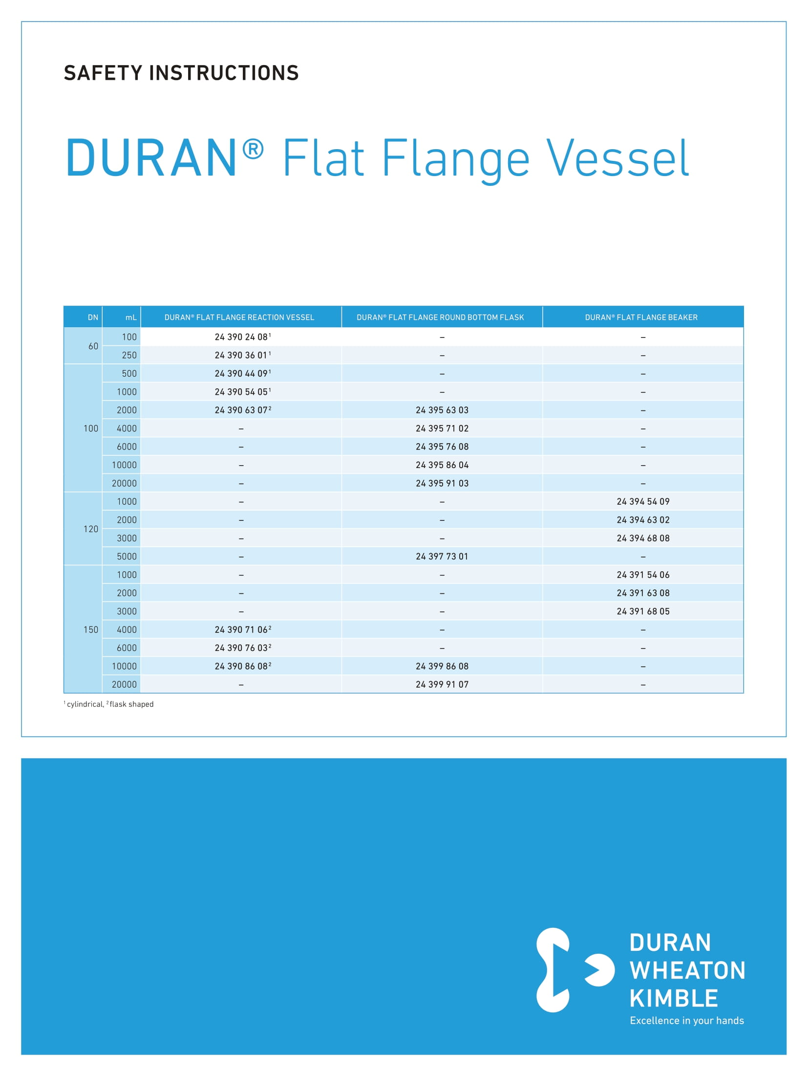 DWK SAFETY INSTRUCTIONS DURAN® Flat Flange Vessel