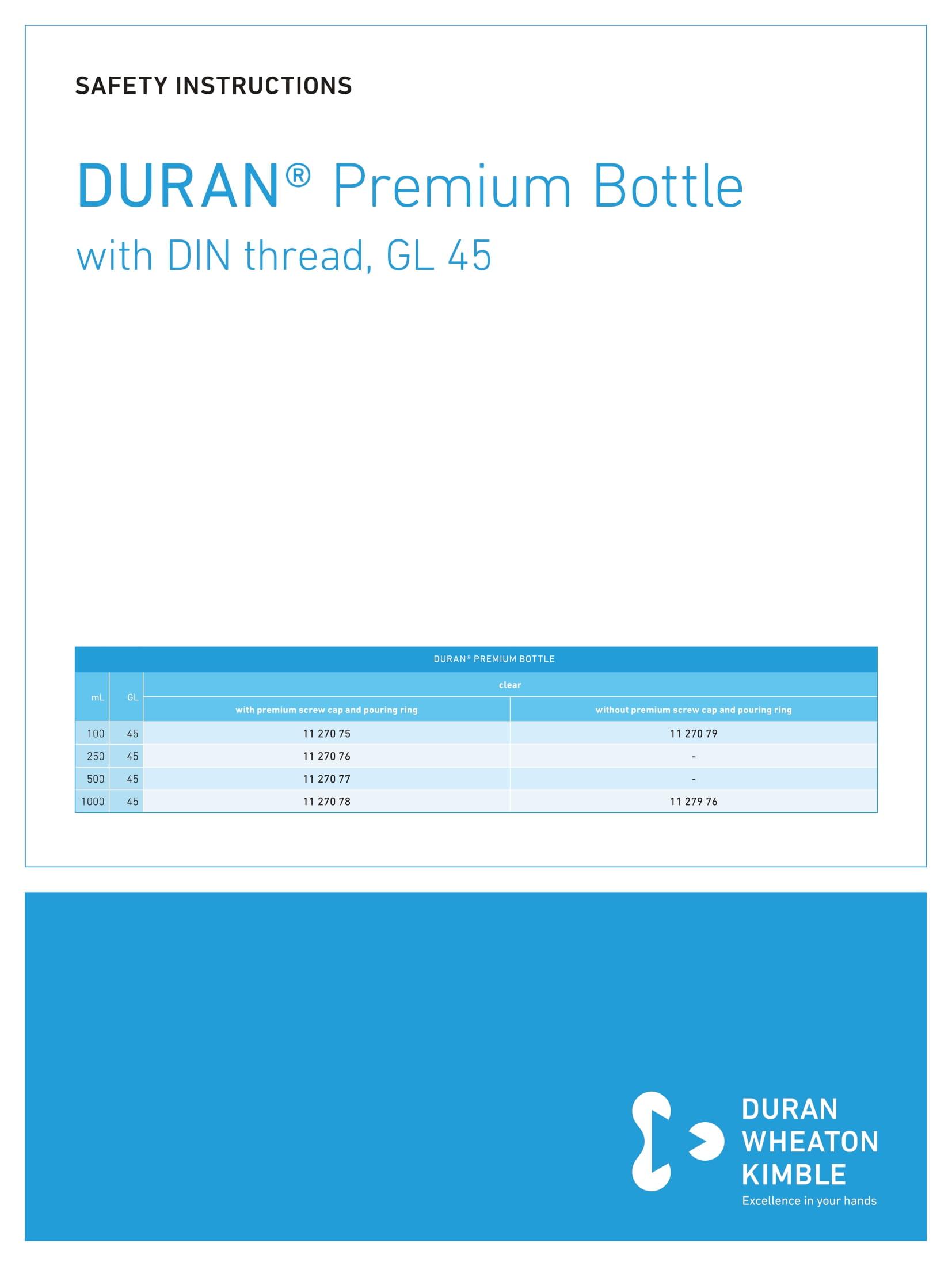 DWK SAFETY INSTRUCTIONS DURAN® Premium Bottle