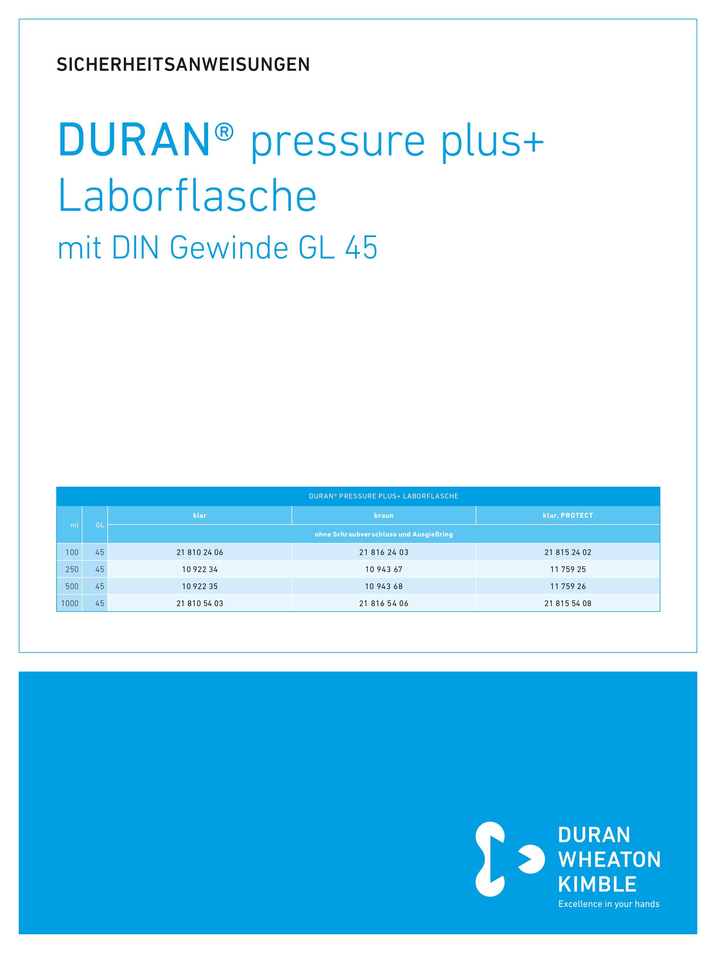 DWK SICHERHEITSANWEISUNGEN DURAN® pressure plus+ Bottle