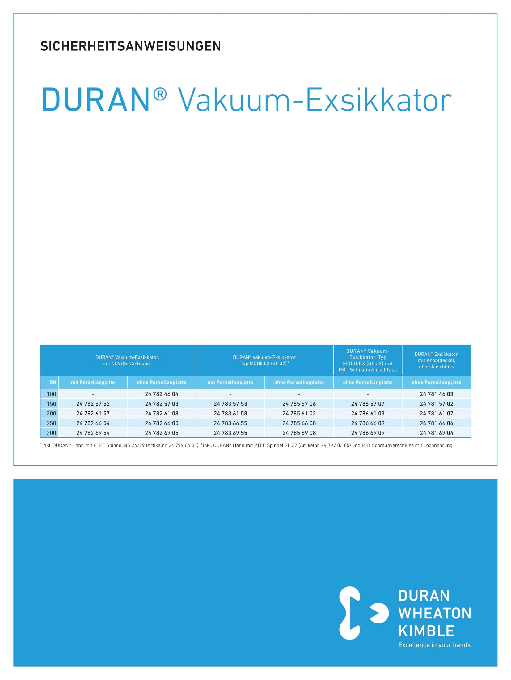DWK SAFETY INSTRUCTIONS DURAN® Vacuum Desiccator
