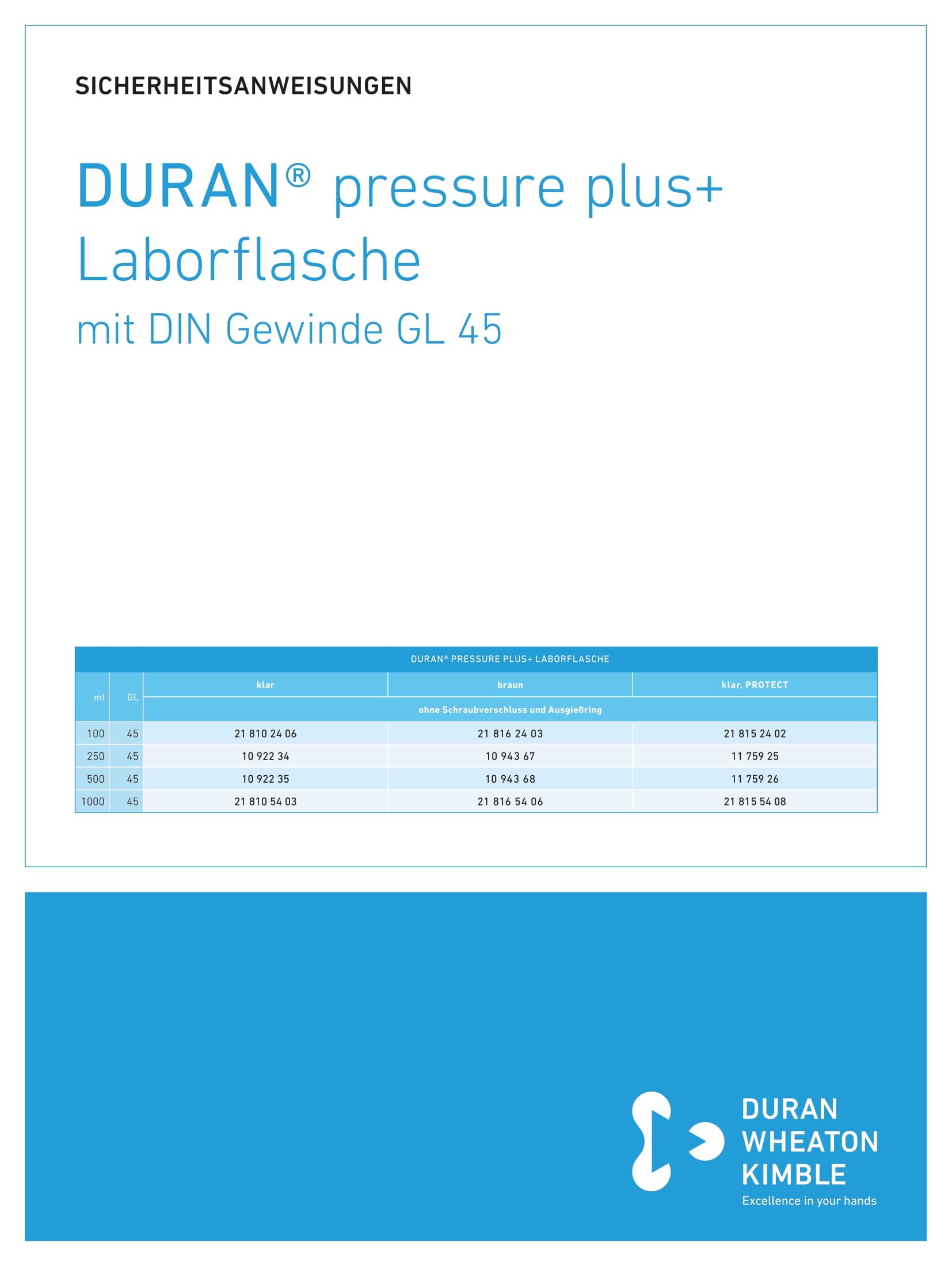 DWK SAFETY INSTRUCTIONS DURAN® pressure plus+ Laboratory Bottle