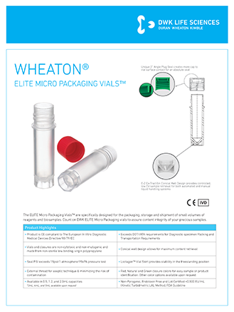 WHEATON® ELITE® Micro Packaging Vials
