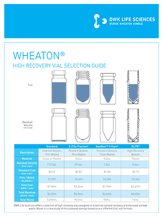 WHEATON® HIgh Recovery Vial Selection Guide Flyer