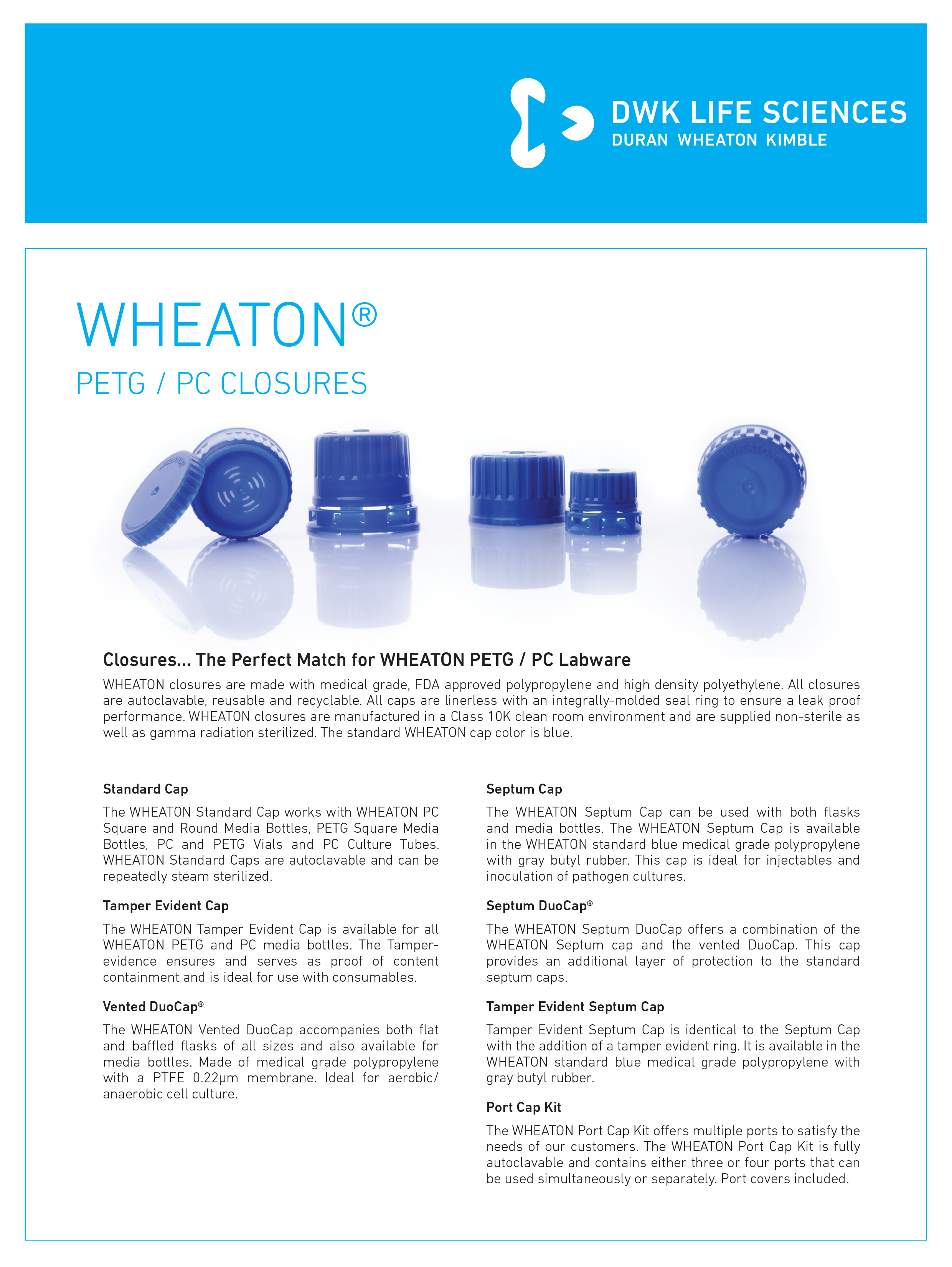 WHEATON® PETG Closures Flyer