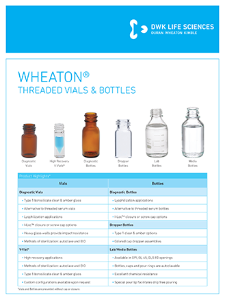 WHEATON Threaded Vials and Bottles