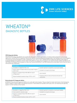WHEATON® Diagnostic bottles Lab Flyer