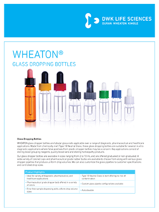 WHEATON® Glass Dropping Bottles Flyer