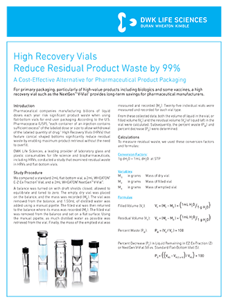WHEATON® High Recovery Vials
