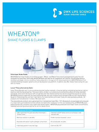 WHEATON® Shake Flasks Clamps Lab Flyer