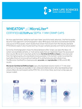 WHEATON® ULTRAPureSepta 11mmCrimpCaps Flyer