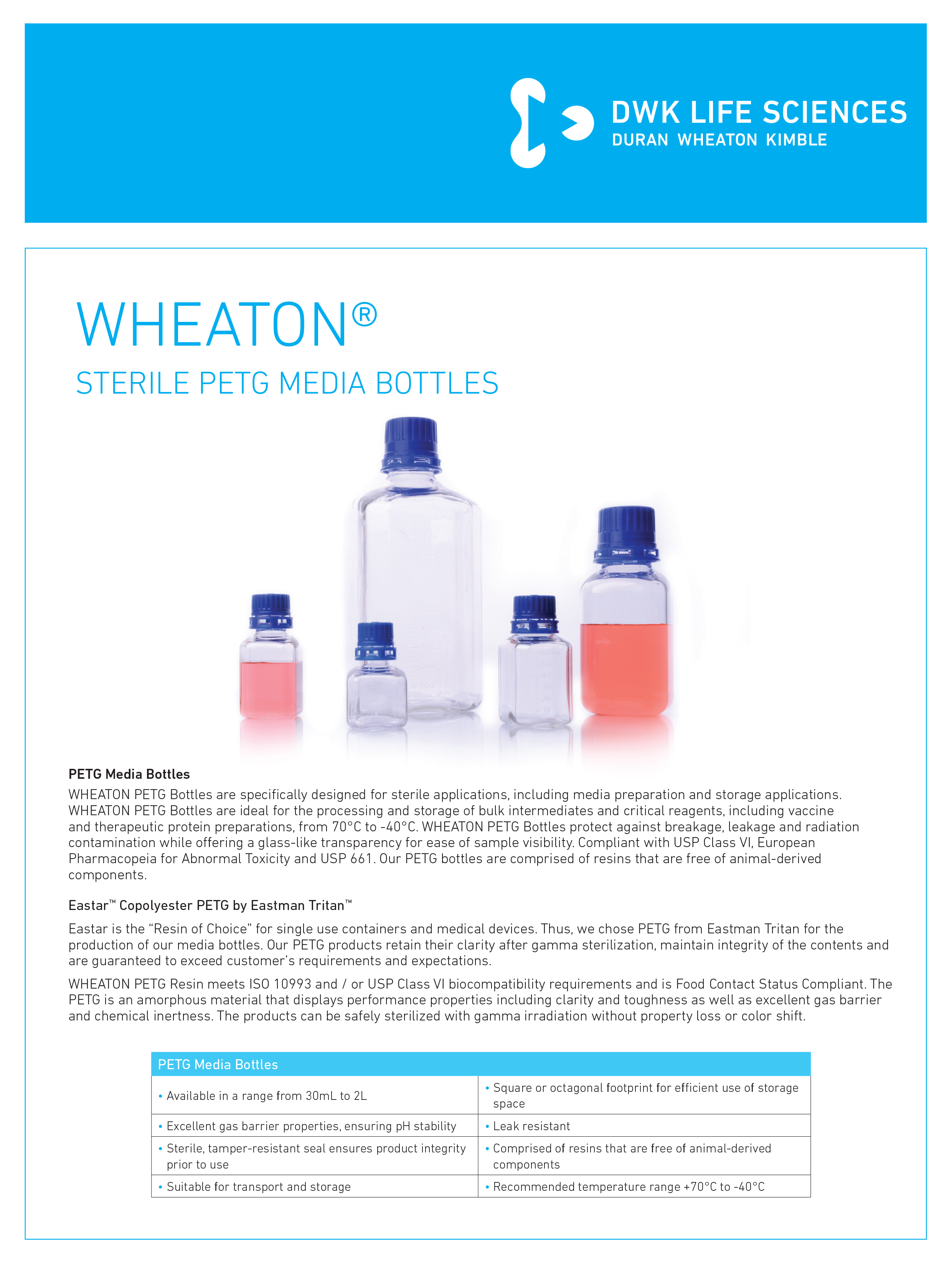 WHEATON® Sterile PETG Media Bottles Flyer